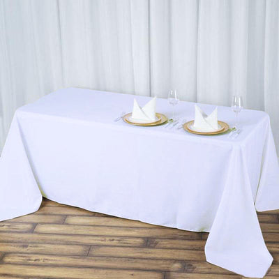 90x132 White Seamless Premium Polyester Rectangular Tablecloth