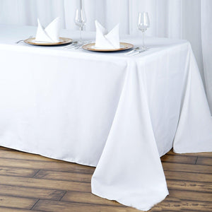 "90x132"" White Seamless Premium Polyester Rectangular Tablecloth"