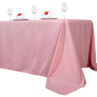 "90x156"" Rose Quartz Polyester Rectangular Tablecloth"