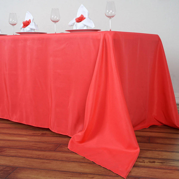 "90""x156"" Coral Red Polyester Rectangular Tablecloth - Clearance SALE"