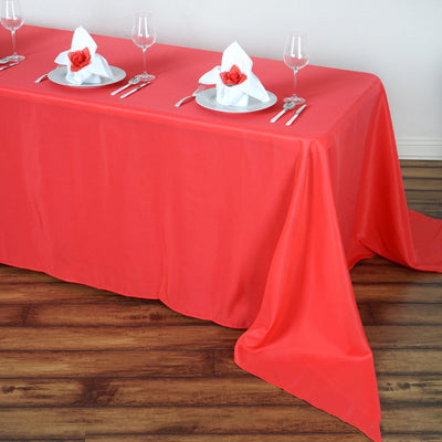 "90""x156"" Coral Red Polyester Rectangular Tablecloth"