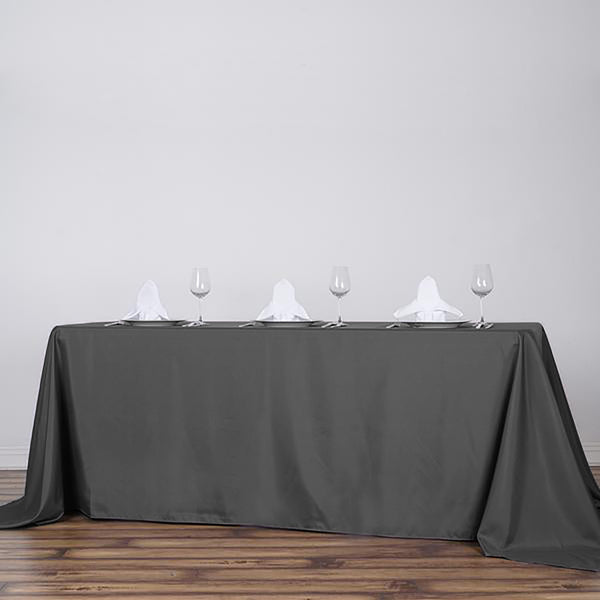 "90""x156"" Charcoal Gray Polyester Rectangular Tablecloth"