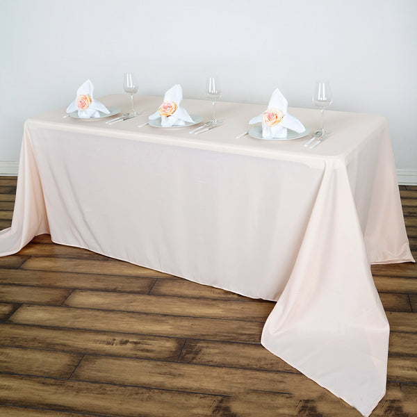 "90""x156"" Polyester Rectangular Tablecloth - Rose Gold 