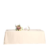 "90x156"" Beige Polyester Rectangular Tablecloth"