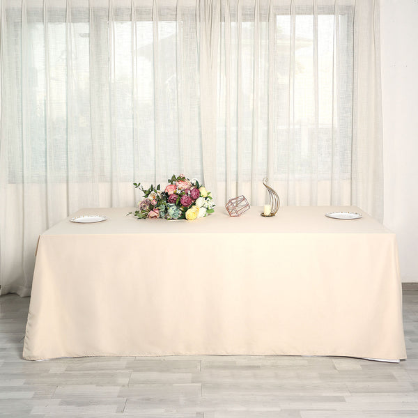 "90""x156"" Beige Polyester Rectangular Tablecloth"