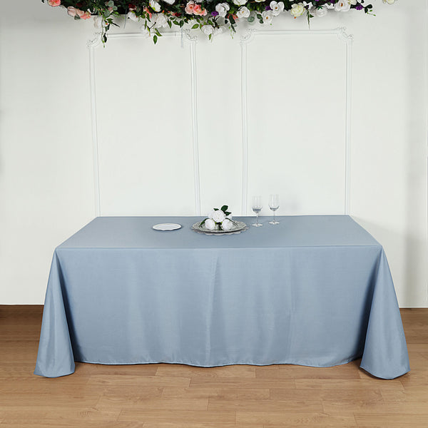 "90""x156"" Dusty Blue Polyester Rectangular Tablecloth"
