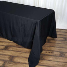 "90""x156"" Black Polyester Rectangular Tablecloth"