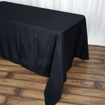 "90x156"" Black Polyester Rectangular Tablecloth"