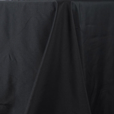 "90""x156"" Black Seamless Premium Polyester Rectangular Tablecloth"