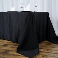 "90""x156"" Black 220 GSM Seamless Premium Polyester Rectangular Tablecloth"