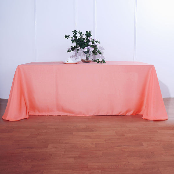 "90""x156"" Coral Polyester Rectangular Tablecloth"
