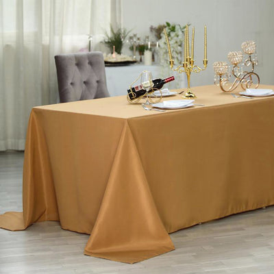 "90x156"" Gold Polyester Rectangular Tablecloth"
