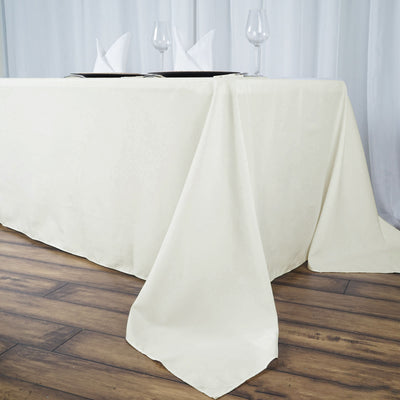 "90x156"" Seamless Premium Ivory Wholesale Polyester Rectangular Banquet Linen Tablecloth"