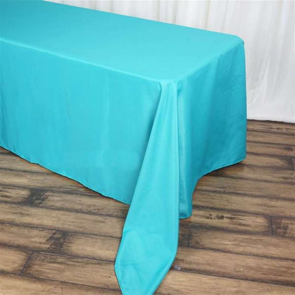"90""x156"" Turquoise Polyester Rectangular Tablecloth"