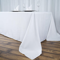 "90""x156"" White 220 GSM Seamless Premium Polyester Rectangular Tablecloth"