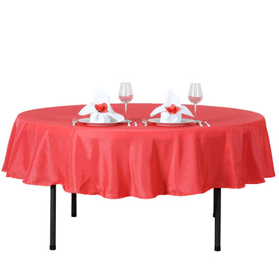 "90"" Coral Red Polyester Round Tablecloth - Clearance SALE"
