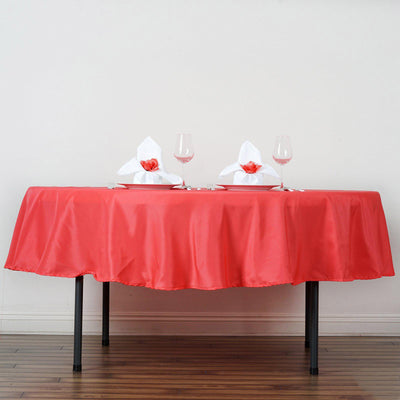 "90"" Coral Polyester Round Tablecloth - Clearance SALE"