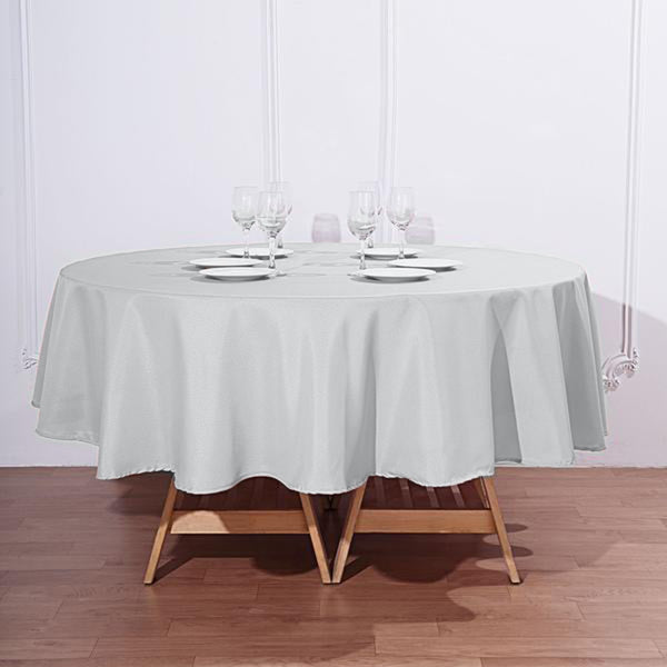 "90"" Silver Polyester Round Tablecloth"