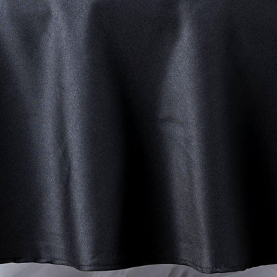 "90"" Black Seamless Premium Polyester Round Tablecloth"