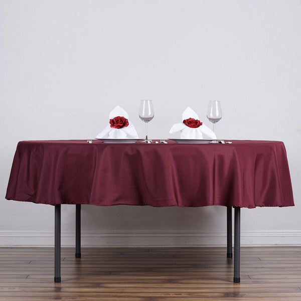 "90"" Burgundy Polyester Round Tablecloth"