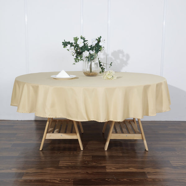 "90"" Champagne Polyester Round Tablecloth"