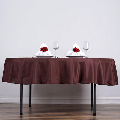 "90"" CHOCOLATE Wholesale Polyester Round Tablecloth For Wedding Banquet Restaurant"