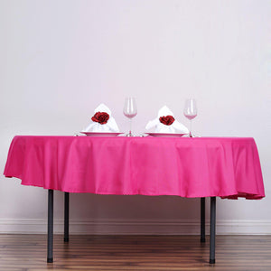 "90"" Fushia Polyester Round Tablecloth"