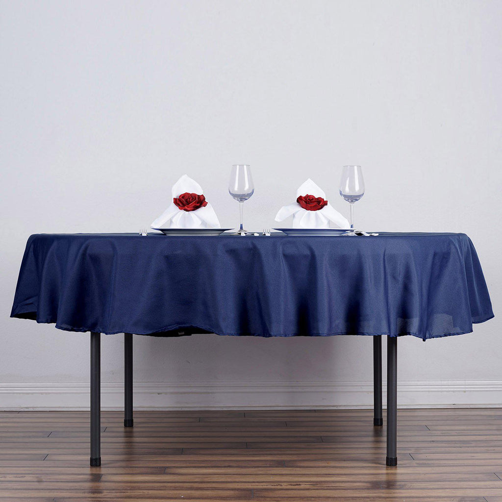 90 Quot Navy Blue Wholesale Polyester Round Tablecloth For