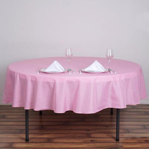 "90"" Pink Polyester Round Tablecloth"