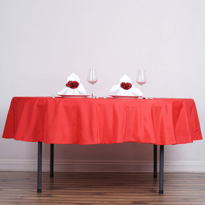 "90"" RED Wholesale Polyester Round Tablecloth For Wedding Banquet Restaurant"