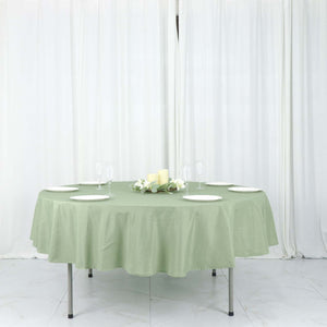 "90"" Sage Green Polyester Round Tablecloth"