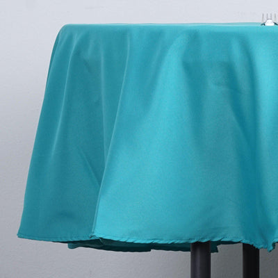 "90"" Turquoise Polyester Round Tablecloth"
