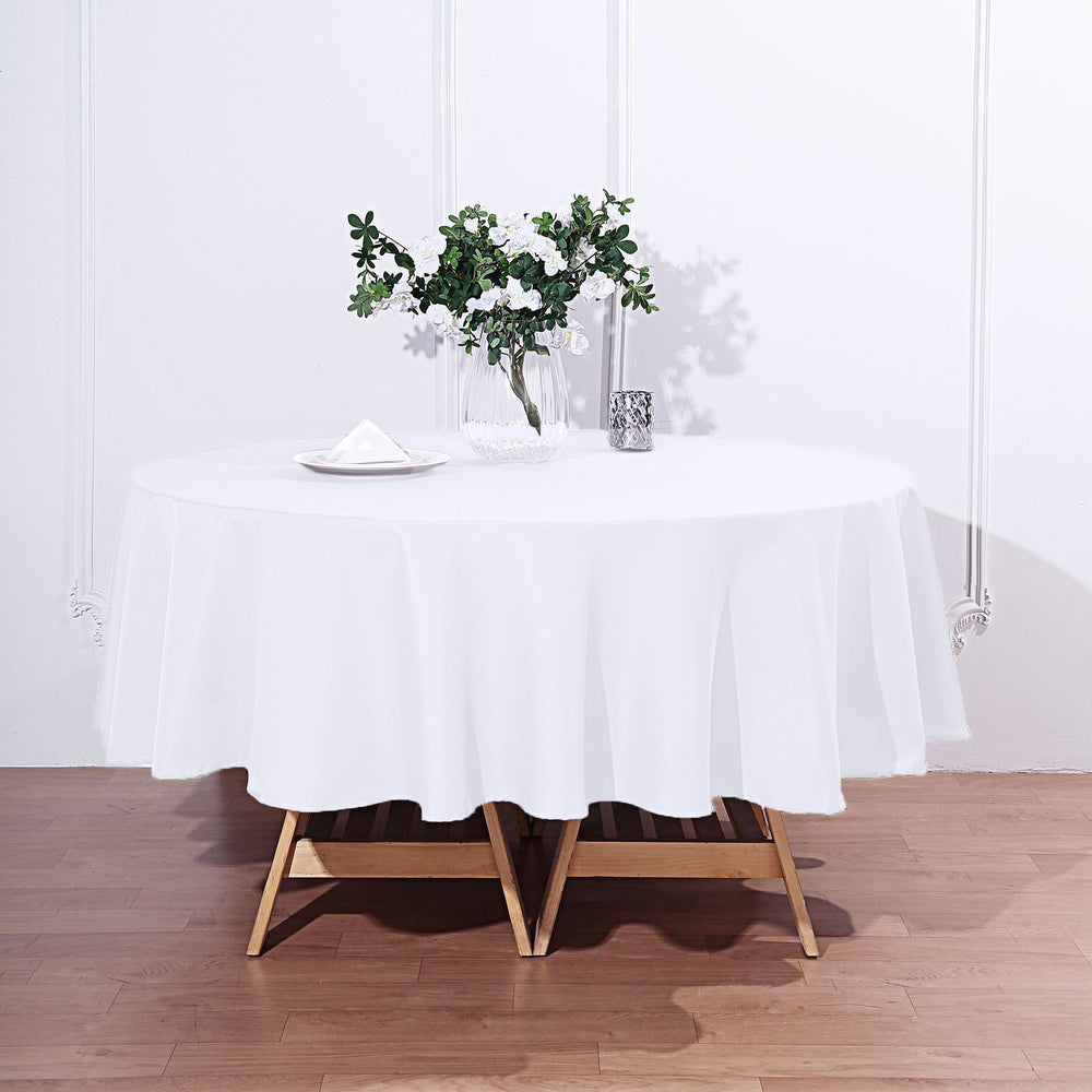 "90"" WHITE Wholesale Polyester Round Tablecloth For Wedding ..."