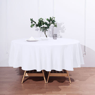 "90"" White Polyester Round Tablecloth"