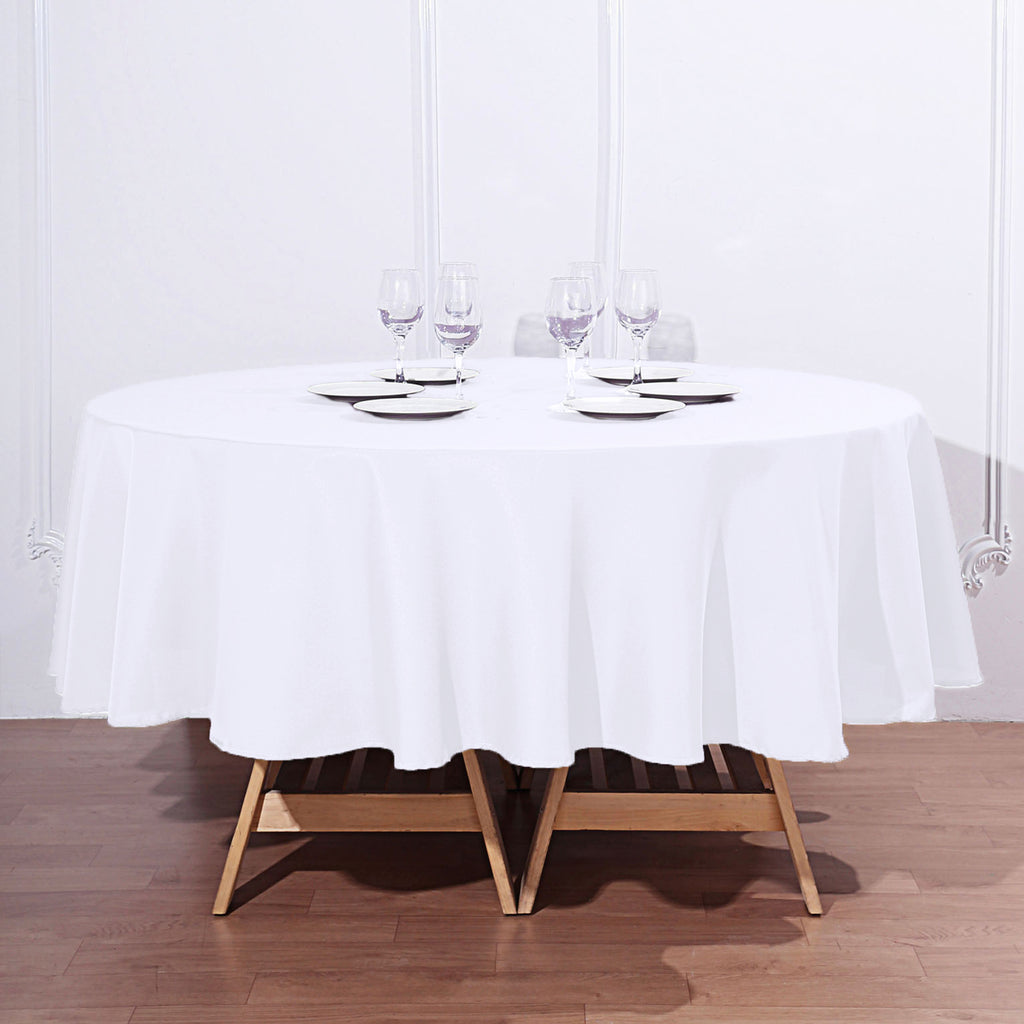 90 Quot White Wholesale Polyester Round Tablecloth For Wedding