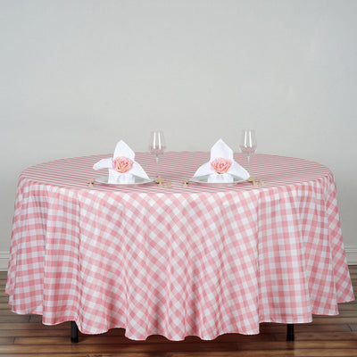 "108"" White/Rose Quartz Round Checkered Gingham Polyester Tablecloth"