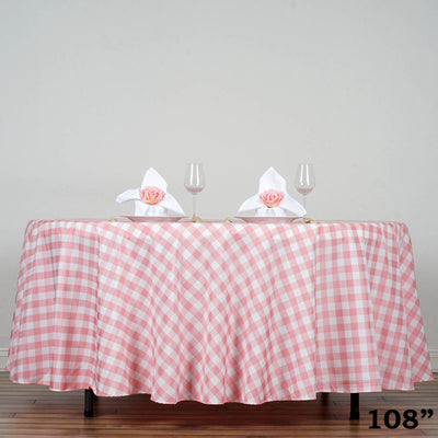 "108"" Round Rose Quartz/White Checkered Wholesale Gingham Polyester Linen Picnic Restaurant Dinner Tablecloth"