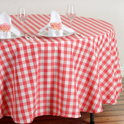 "108"" Round Coral/White Checkered Wholesale Gingham Polyester Linen Picnic Restaurant Dinner Tablecloth"
