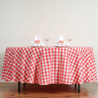 "108"" White/Coral Round Checkered Gingham Polyester Picnic Tablecloth"