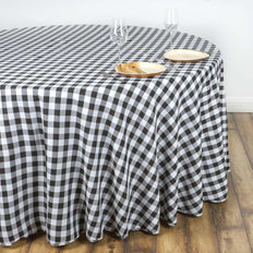 "108"" Round BLACK/WHITE Checkered Wholesale Gingham Polyester Linen Picnic Restaurant Dinner Tablecloth"