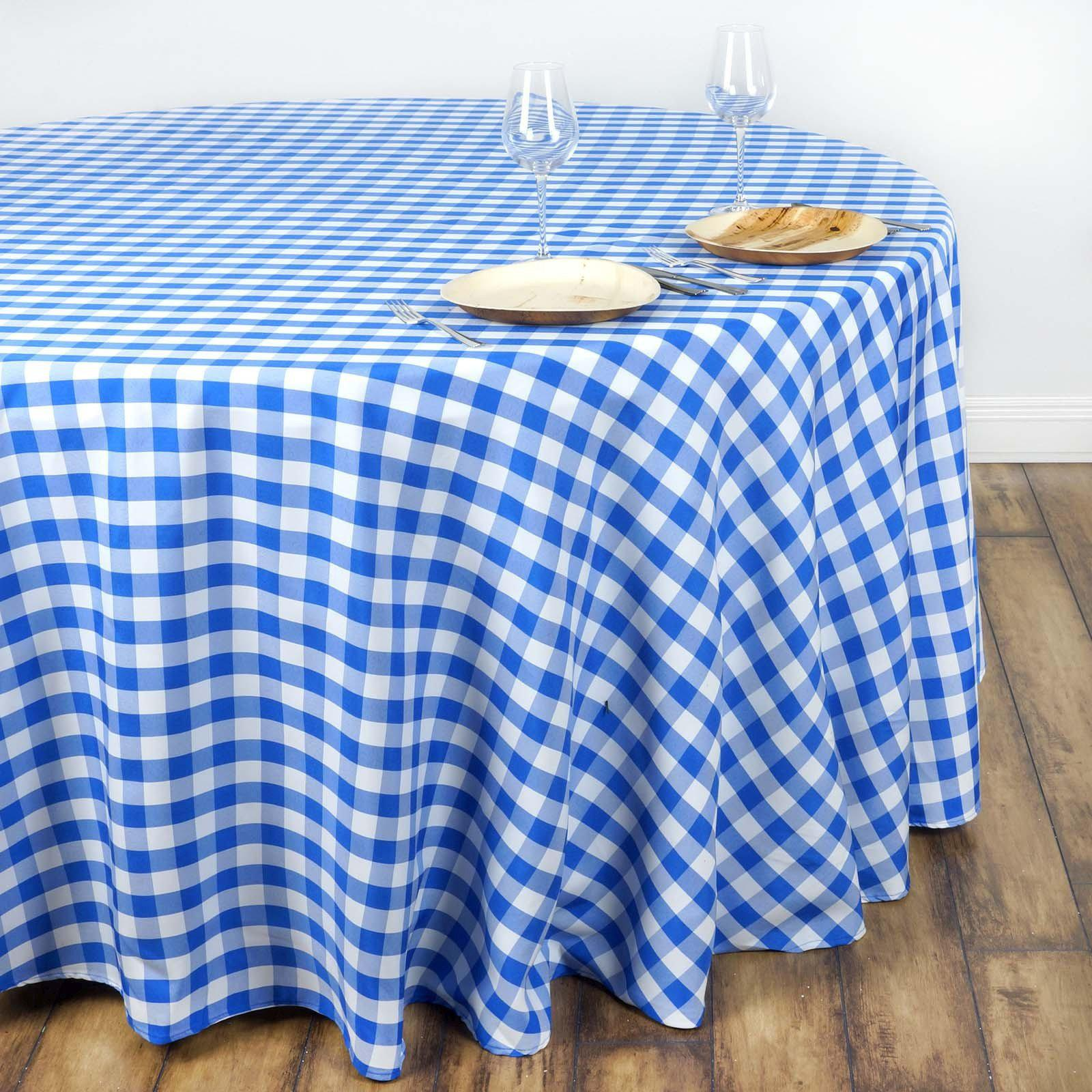 Blue And White Round Tablecloth Buffalo Check In Aqua by willowlanetextiles Rustic Plaid Cotton Sateen Circle Tablecloth by Spoonflower
