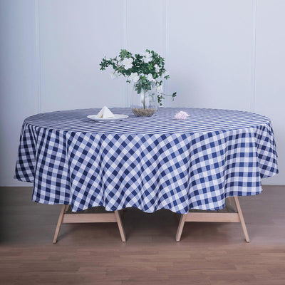 Buffalo Plaid Tablecloth | 108 Round | White/Navy Blue | Checkered Gingham Polyester Tablecloth