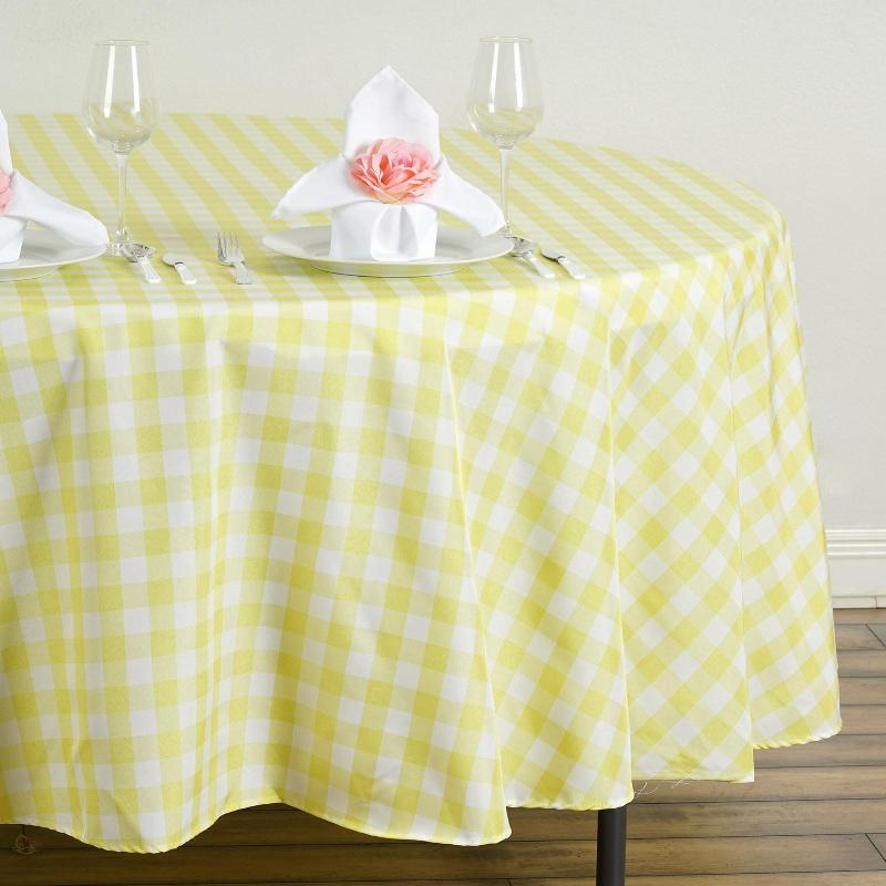108 Quot White Yellow Round Checkered Gingham Polyester Picnic