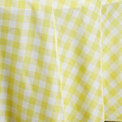 "108"" Round Yellow/White Checkered Wholesale Gingham Polyester Linen Picnic Restaurant Dinner Tablecloth"