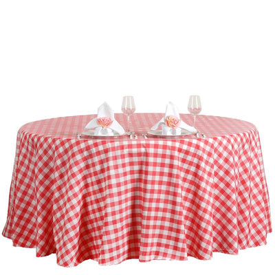 Buffalo Plaid Tablecloth | 120 inch Round | White/Coral | Checkered Gingham Polyester Tablecloth