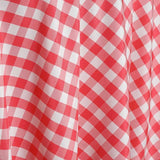 "120"" Round CORAL/WHITE Checkered Wholesale Gingham Polyester Linen Picnic Restaurant Dinner Tablecloth"