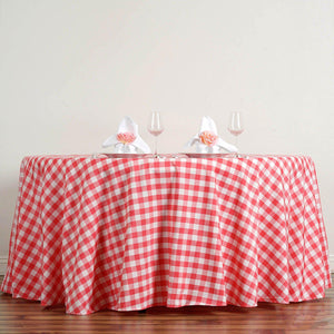 Buffalo Plaid Tablecloths | 120 Round | White/Coral | Checkered Gingham Polyester Tablecloth