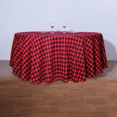 Buffalo Plaid Tablecloth | 120 inch Round | Black/Red | Checkered Gingham Polyester Tablecloth