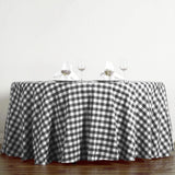Buffalo Plaid Tablecloth | 120 inch Round | White/Black | Checkered Gingham Polyester Tablecloth
