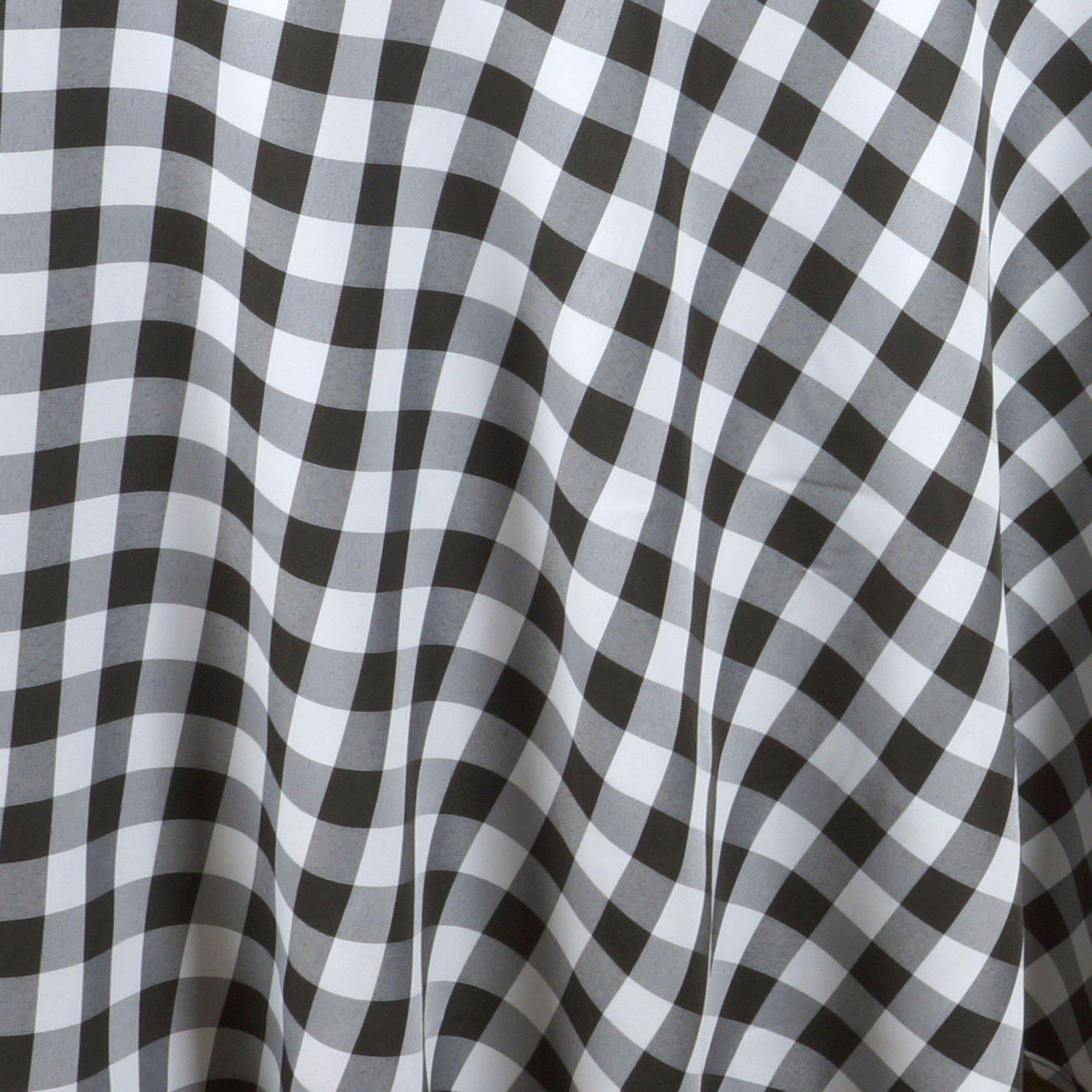 120 Whiteblack Round Checkered Gingham Polyester Picnic Tablecloth